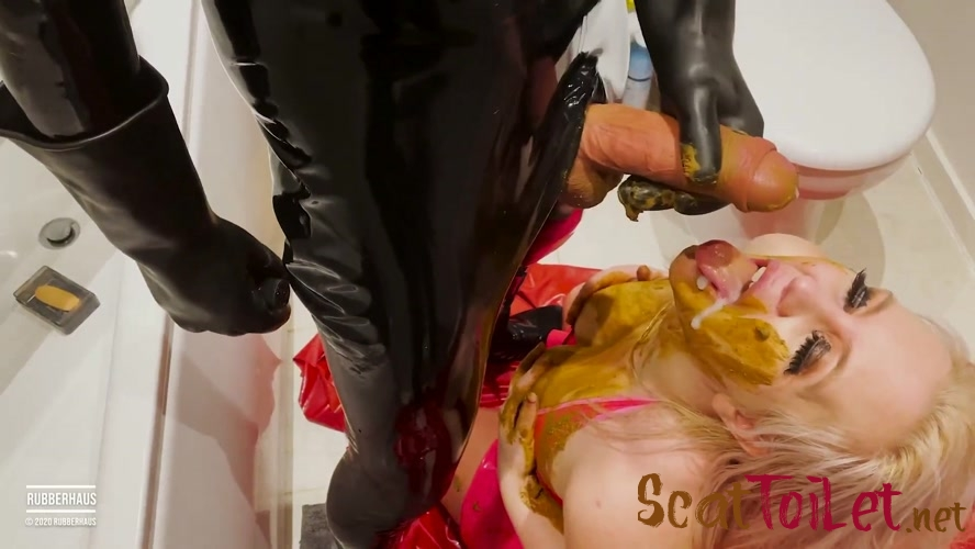 Filthy rubber girl eats shit and receives a face load of cum with RubberHaus [MPEG-4]